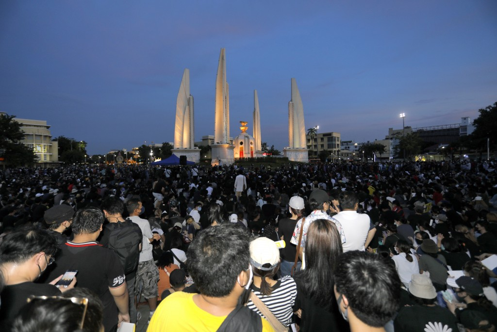 Thai anti-government protesters gather front of the Democracy Monument in Bangkok, Thailand, Saturday, July 18, 2020. Several thousand anti-government...