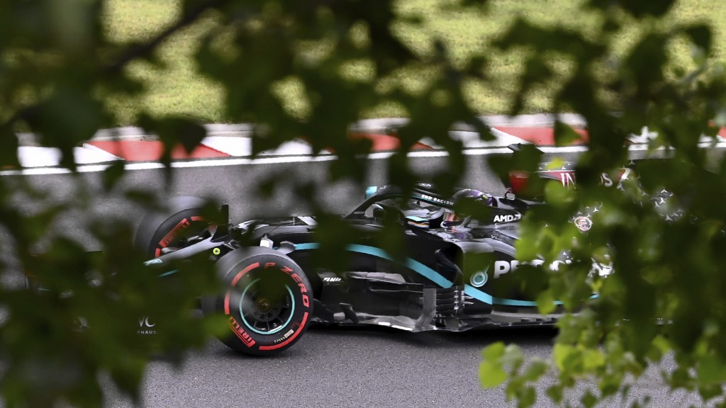 Mercedes driver Lewis Hamilton of Britain steers his car during the third practice session for the Hungarian Formula One Grand Prix at the Hungaroring...