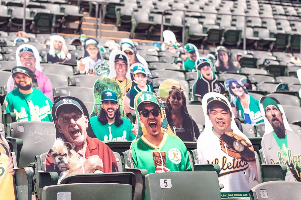 This July 15, 2020, photo provided by the Oakland Athletics baseball team shows fan cutouts in the stands at RingCentral Coliseum in Oakland, Calif., ...