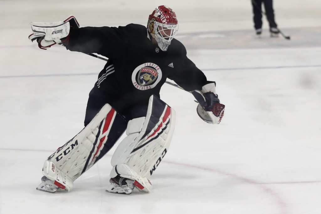 Florida Panthers goaltender Sergei Bobrovsky skates during NHL hockey practice, Friday, July 17, 2020, in Coral Springs, Fla. (AP Photo/Lynne Sladky)