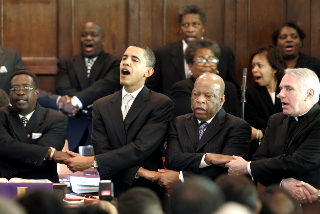 FILE - In this Sunday March 4, 2007, file photo, from left, Brown Chapel AME Church Pastor James Jackson, Democratic presidential candidate Sen. Barac...