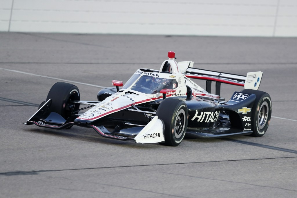 Josef Newgarden races his car during the IndyCar Series auto race Friday, July 17, 2020, at Iowa Speedway in Newton, Iowa. (AP Photo/Charlie Neibergal...