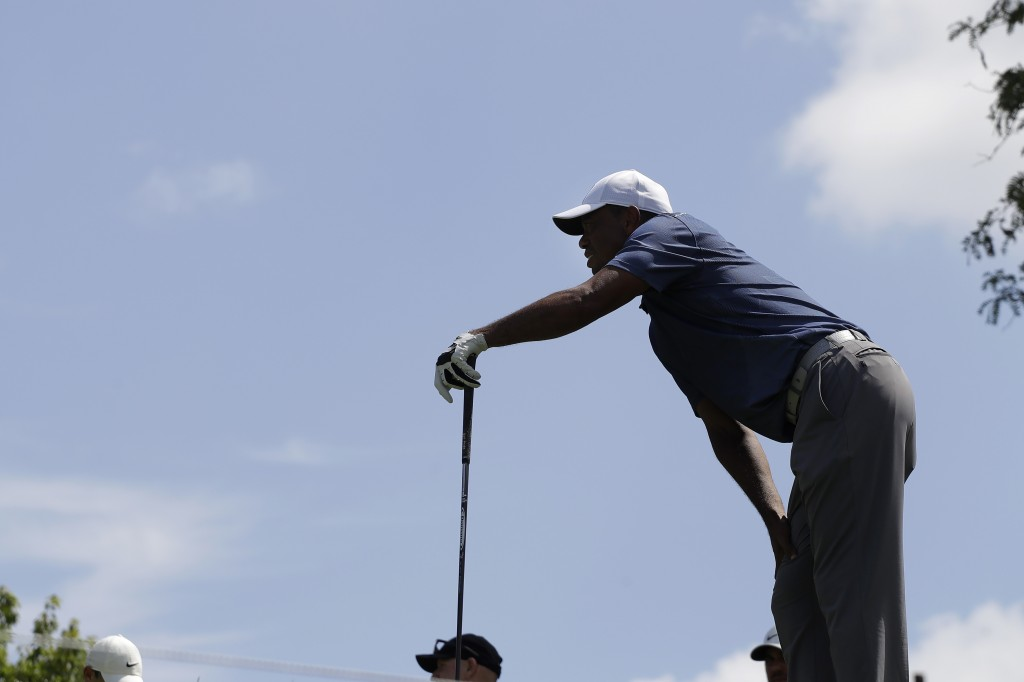 Tiger Woods watches his shot from the fifth tee during the second round of the Memorial golf tournament, Friday, July 17, 2020, in Dublin, Ohio. (AP P...