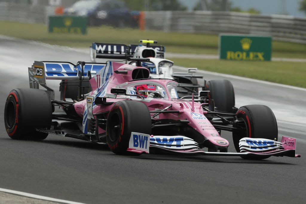 Racing Point driver Sergio Perez of Mexico steers his car during the third practice session for the Hungarian Formula One Grand Prix at the Hungarorin...