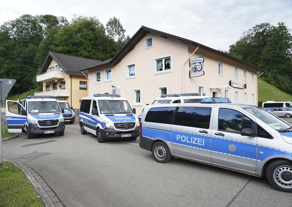 Emergency services block off the access to the Ramsbach district of Oppenau, Germany, Friday, July 17, 2020. A man who disarmed four officers at gunpo...