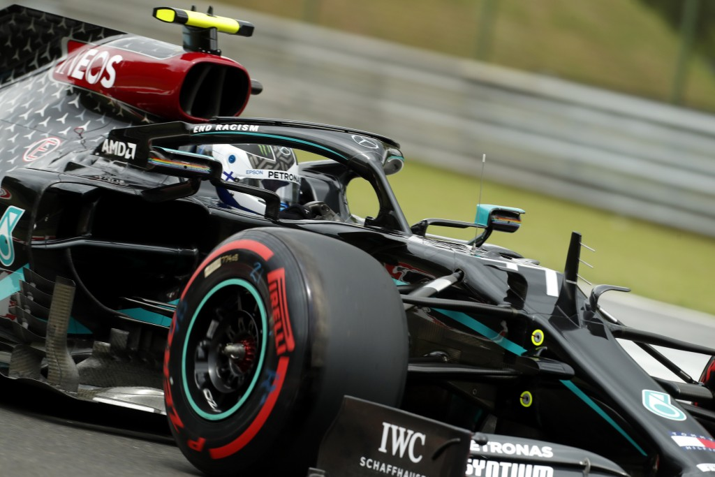 Mercedes driver Valtteri Bottas of Finland steers his car during the third practice session for the Hungarian Formula One Grand Prix at the Hungarorin...