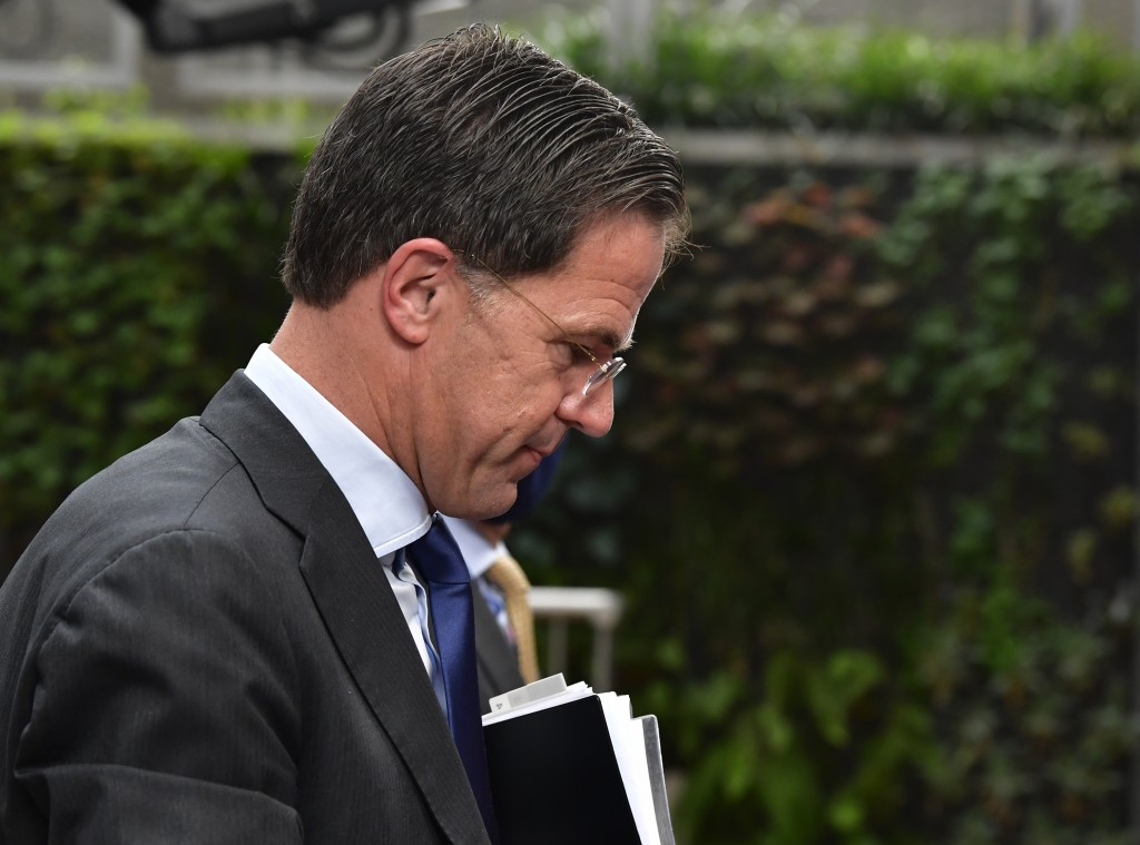 Dutch Prime Minister Mark Rutte arrives for an EU summit at the European Council building in Brussels, Sunday, July 19, 2020. Leaders from 27 European...