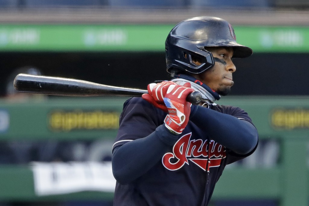 Cleveland Indians' Francisco Lindor singles off Pittsburgh Pirates starting pitcher Joe Musgrove during the first inning of an exhibition baseball gam...
