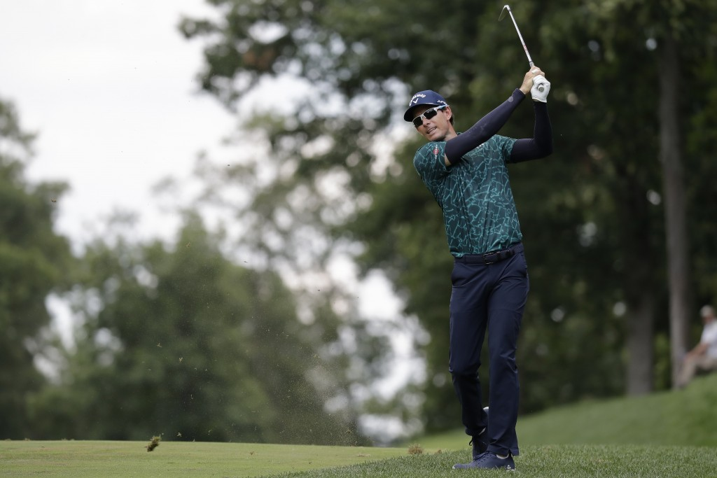 Dylan Frittelli, of South Africa, hits to the ninth fairway during the third round of the Memorial golf tournament, Saturday, July 18, 2020, in Dublin...
