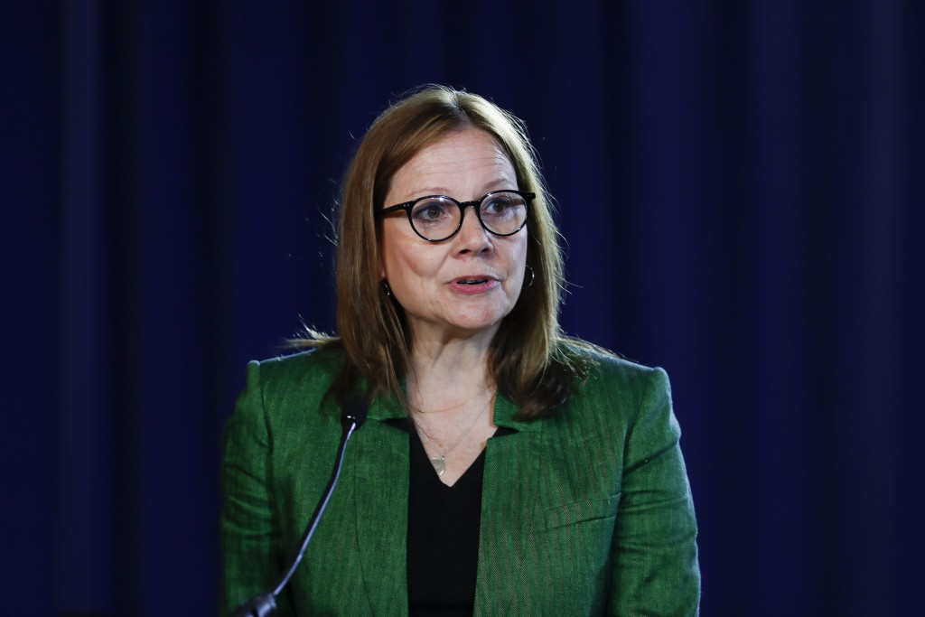 FILE - In this July 16, 2019, file photo General Motors Chairman and Chief Executive Officer Mary Barra speaks during the opening of their contract ta...