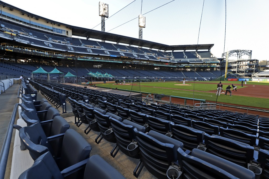 The Cleveland Indians bat in the top of the first inning during an exhibition baseball game against the Pittsburgh Pirates at PNC Park in Pittsburgh, ...
