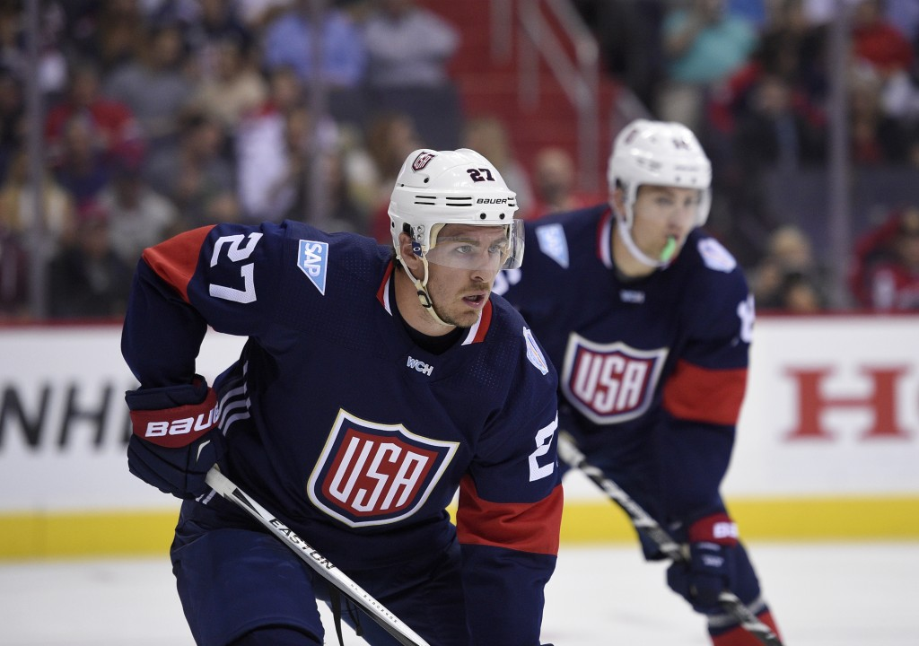 FILE - In this Sept. 13, 2016 file photo, United States defenseman Ryan McDonagh (27) looks on against Finland during the second period of an exhibiti...
