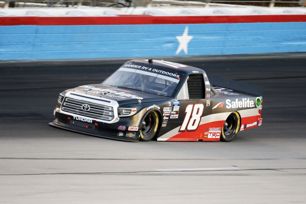 Christian Eckes comes out of Turn 4 during the NASCAR trucks race at Texas Motor Speedway in Fort Worth, Texas, Saturday, July 18, 2020. (AP Photo/Ray...