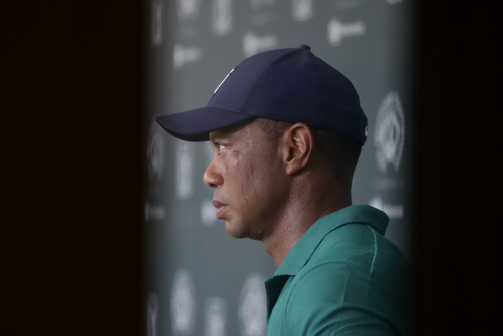 Tiger Woods is interviewed during the third round of the Memorial golf tournament, Saturday, July 18, 2020, in Dublin, Ohio. (AP Photo/Darron Cummings...