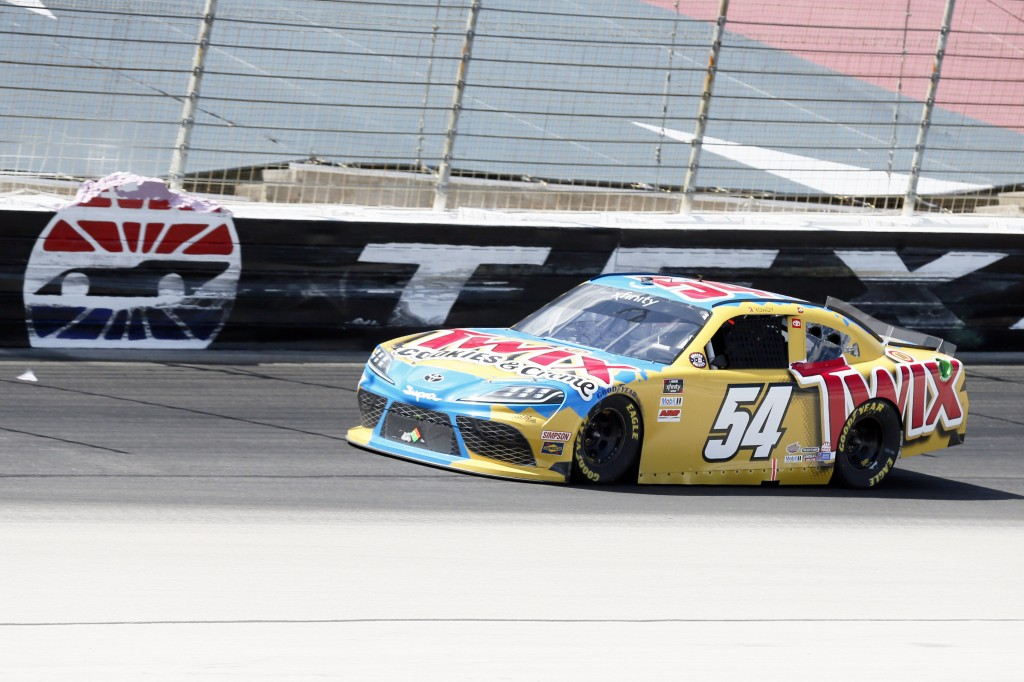 Kyle Busch heads for the front stretch during the NASCAR Xfinity auto race at Texas Motor Speedway in Fort Worth, Texas, Saturday, July 18, 2020. (AP ...