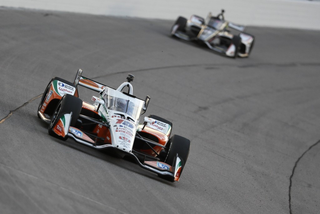 Graham Rahal drives his car during an IndyCar Series auto race Saturday, July 18, 2020, at Iowa Speedway in Newton, Iowa. (AP Photo/Charlie Neibergall...