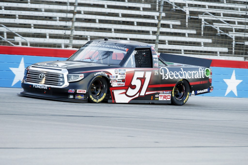 Kyle Busch heads down the front stretch during a NASCAR Trucks race at Texas Motor Speedway in Fort Worth, Texas, Saturday, July 18, 2020. (AP Photo/R...