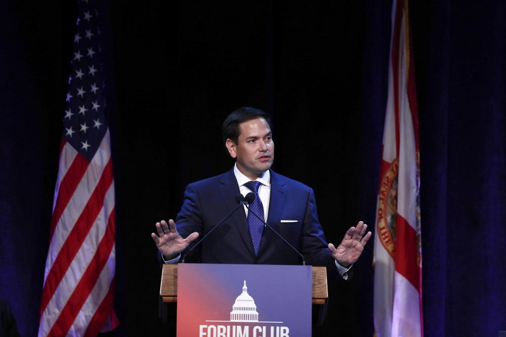 FILE - In this Aug. 21, 2019, file photo, Sen. Marco Rubio, R-Fla., speaks during a Forum Club meeting, in West Palm Beach, Fla. Sen. Rubio mistakenly...