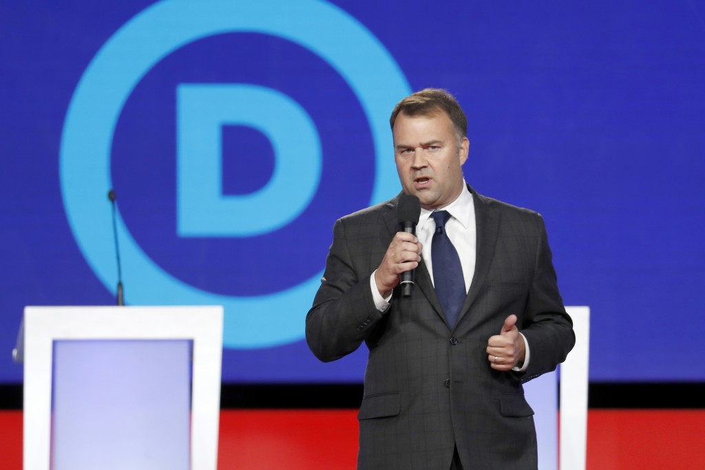 FILE - In this Oct. 15, 2019, file photo David Pepper speaks before a Democratic presidential primary debate at Otterbein University, in Westerville, ...