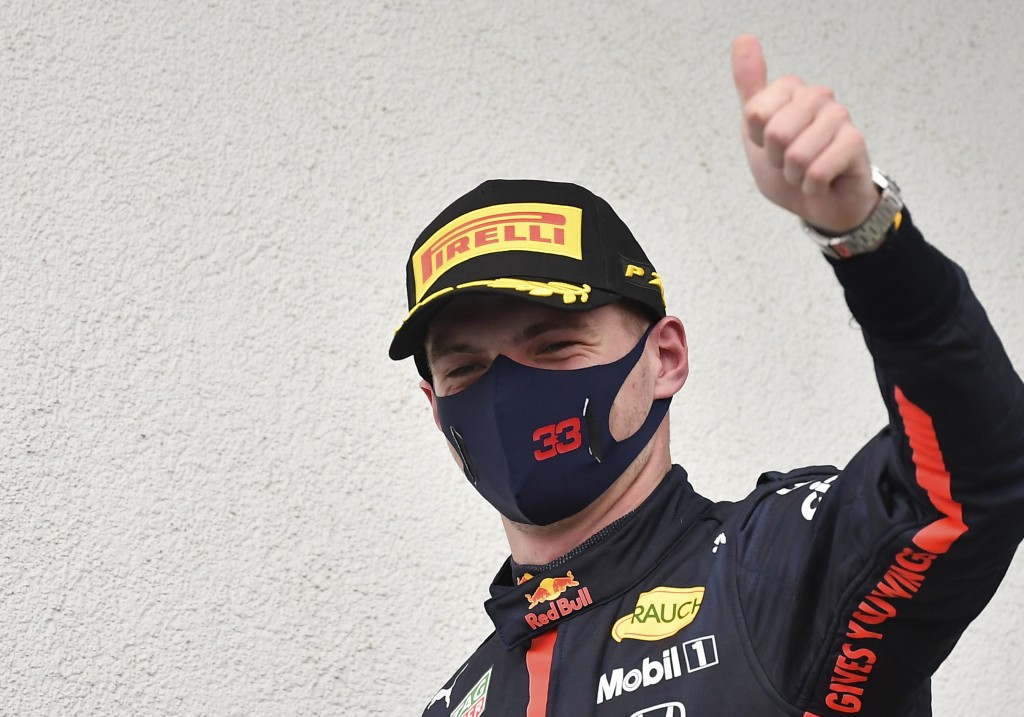 Second placed Red Bull driver Max Verstappen of the Netherlands celebrates after the Hungarian Formula One Grand Prix at the Hungaroring racetrack in ...