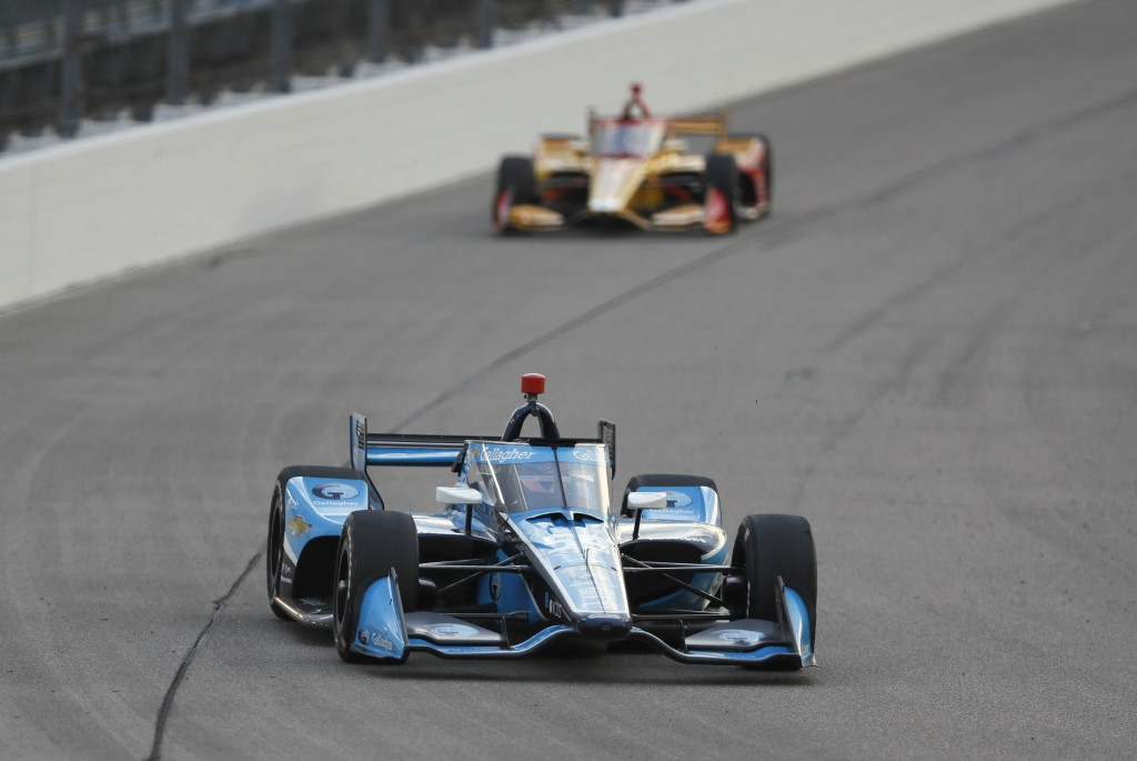 Conor Daly drives his car during an IndyCar Series auto race Saturday, July 18, 2020, at Iowa Speedway in Newton, Iowa. (AP Photo/Charlie Neibergall)