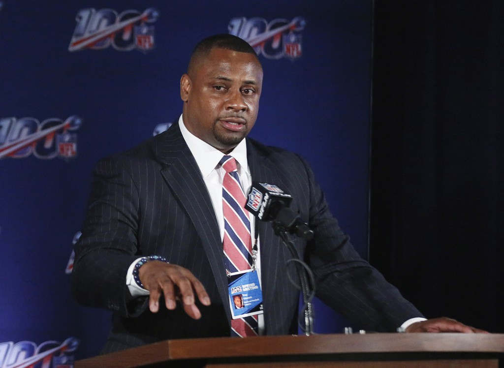 FILE - In this May 22, 2019, file photo, NFL vice president Troy Vincent speaks to the media during an owners meetings in Key Biscayne, Fla. The NFL h...