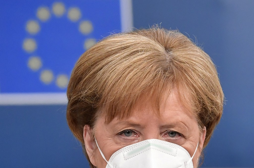 German Chancellor Angela Merkel arrives for an EU summit at the European Council building in Brussels, Sunday, July 19, 2020. Leaders from 27 European...