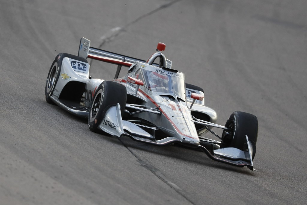 Will Power, of Australia, drives his car during an IndyCar Series auto race, Saturday, July 18, 2020, at Iowa Speedway in Newton, Iowa. (AP Photo/Char...