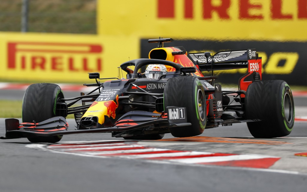 Red Bull driver Max Verstappen of the Netherlands steers his car during the Hungarian Formula One Grand Prix race at the Hungaroring racetrack in Mogy...