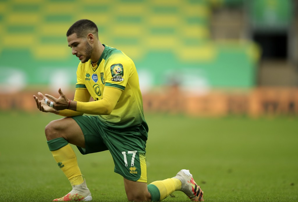 Norwich City's Emi Buendia reacts during the English Premier League soccer match between Norwich City and Burnley at Carrow Road Stadium in Norwich, E...