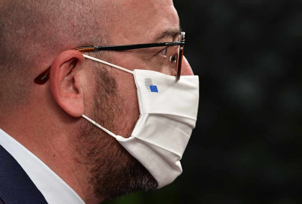 European Council President Charles Michel arrives for an EU summit at the European Council building in Brussels, Sunday, July 19, 2020. Leaders from 2...