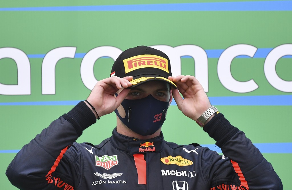 Second placed Red Bull driver Max Verstappen of the Netherlands stands on the podium after the Hungarian Formula One Grand Prix at the Hungaroring rac...