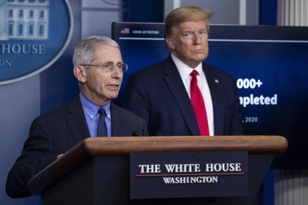 FILE - In this April 17, 2020, file photo Dr. Anthony Fauci, director of the National Institute of Allergy and Infectious Diseases, about the coronavi...