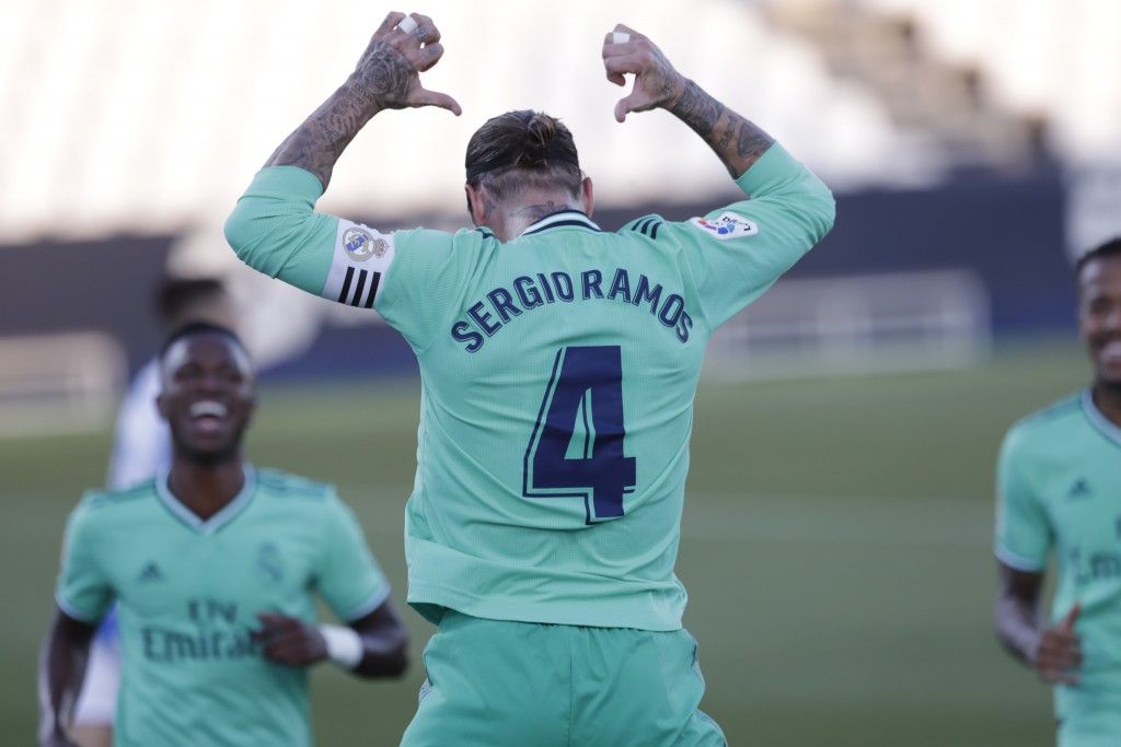 Real Madrid's captain Sergio Ramos celebrates during the Spanish La Liga soccer match between Leganes and Real Madrid at the Butarque Stadium in Legan...