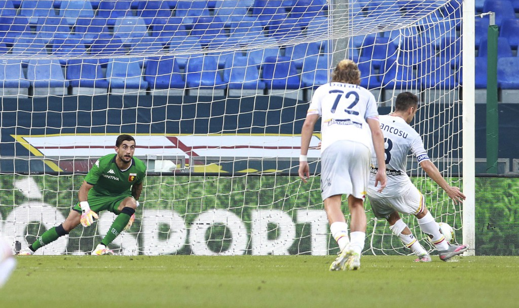 Mancosu Marco of Lecce takes a penalty kick, but does not score against Genoa, during the Serie A soccer match between Genoa and Lecce, at the Luigi F...