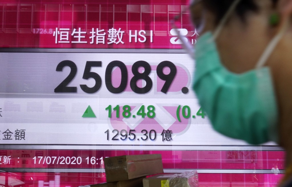 A man wearing a face mask walks past a bank's electronic board showing the Hong Kong share index at Hong Kong Stock Exchange Monday, July 20, 2020. As...