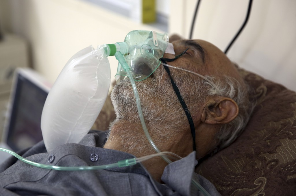 A patient is connected to oxygen tank in the Intensive Care Unit ward for COVID-19 patients at the Afghan-Japan Communicable Disease Hospital in Kabul...