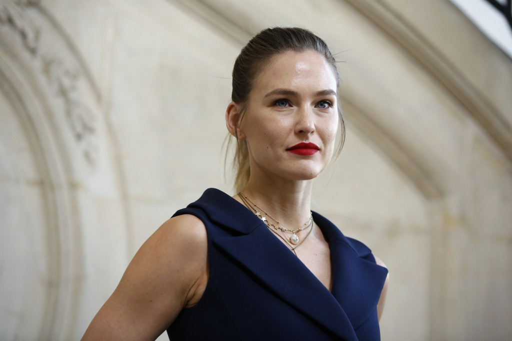 FILE - In this Feb. 26, 2019 file photo, Israeli top model Bar  Refaeli poses for photographers at the Dior ready to wear Fall-Winter 2019-2020 collec...