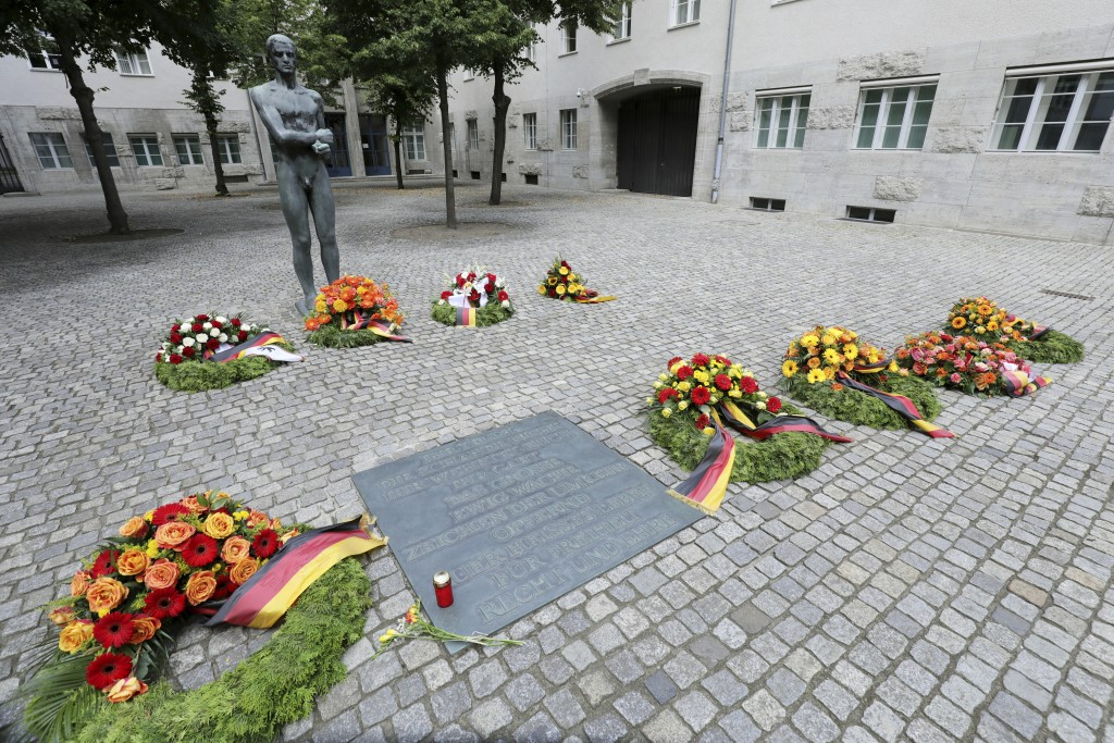 Numerous wreaths and flower arrangements have been laid in the Bendlerblock at the German Resistance Memorial Center on the spot where Claus Graf Sche...