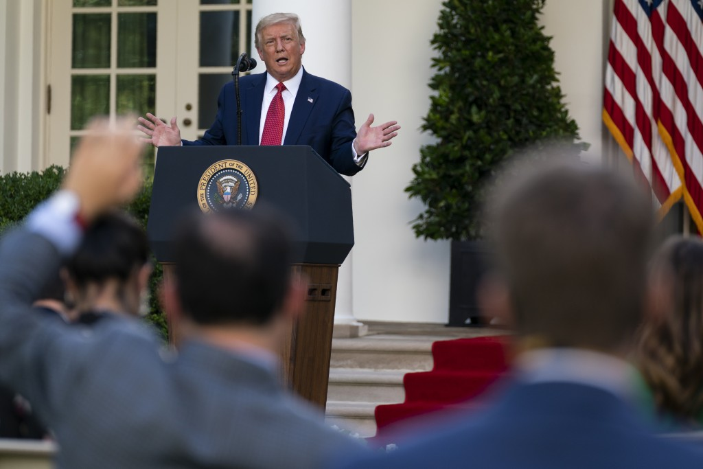 FILE - In this July 14, 2020, file photo President Donald Trump speaks during a news conference in the Rose Garden of the White House in Washington. (...