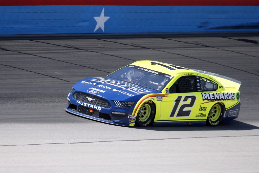 Ryan Blaney comes out of Turn 4 during a NASCAR Cup Series auto race at Texas Motor Speedway in Fort Worth, Texas, Sunday, July 19, 2020. (AP Photo/Ra...