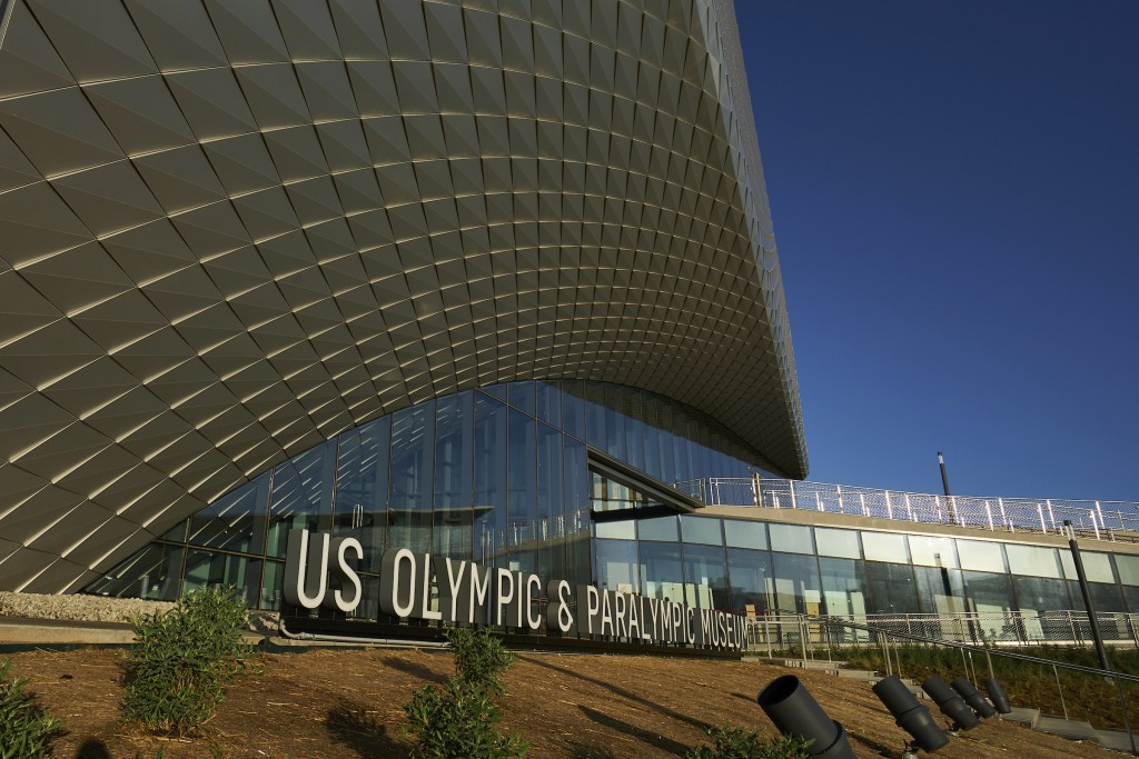 This July 17, 2020 photo provided by the U.S. Olympic & Paralympic Museum shows the U.S. Olympic Museum in Colorado Springs, Colo. The U.S. Olympic an...