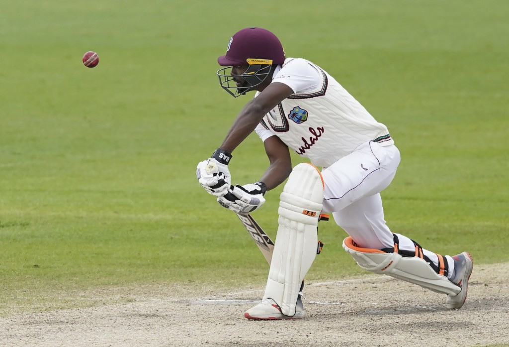 West Indies' Shamarh Brooks bats during the last day of the second cricket Test match between England and West Indies at Old Trafford in Manchester, E...