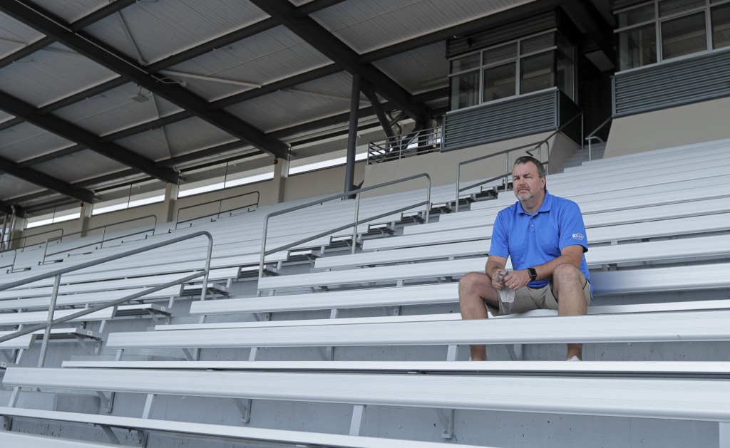 Mick Hoffman, executive director of the Washington Interscholastic Activities Association, poses for a photo, Thursday, July 16, 2020, sitting in the ...