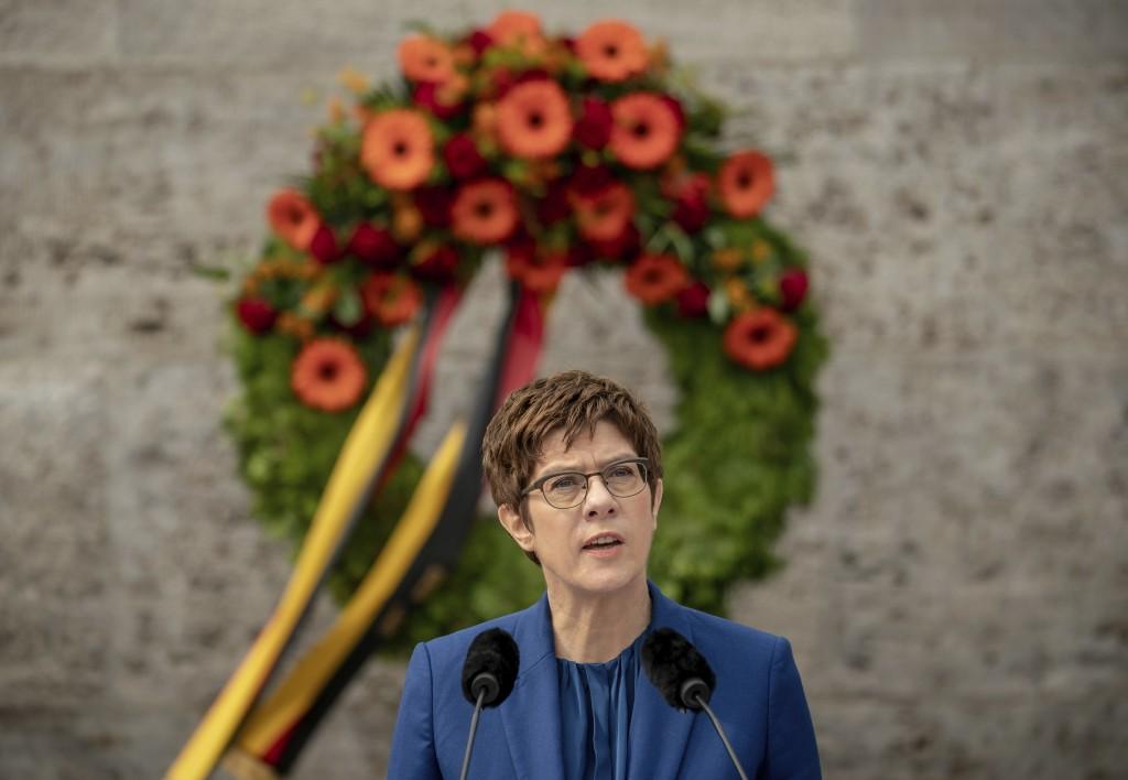 Annegret Kramp-Karrenbauer, German Minister of Defense, delivers her speech at the Ploetzense Lake Memorial in memory of those murdered in the resista...