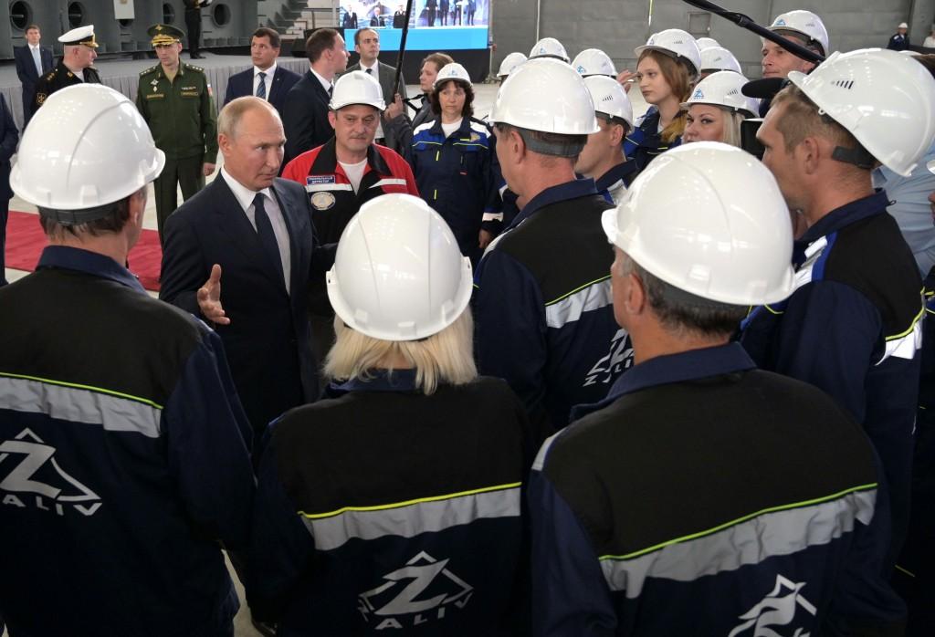 Russian President Vladimir Putin speaks to workers at the Zaliv shipyard in Kerch, Crimea, Monday, July 20, 2020. (Alexei Druzhinin, Sputnik, Kremlin ...