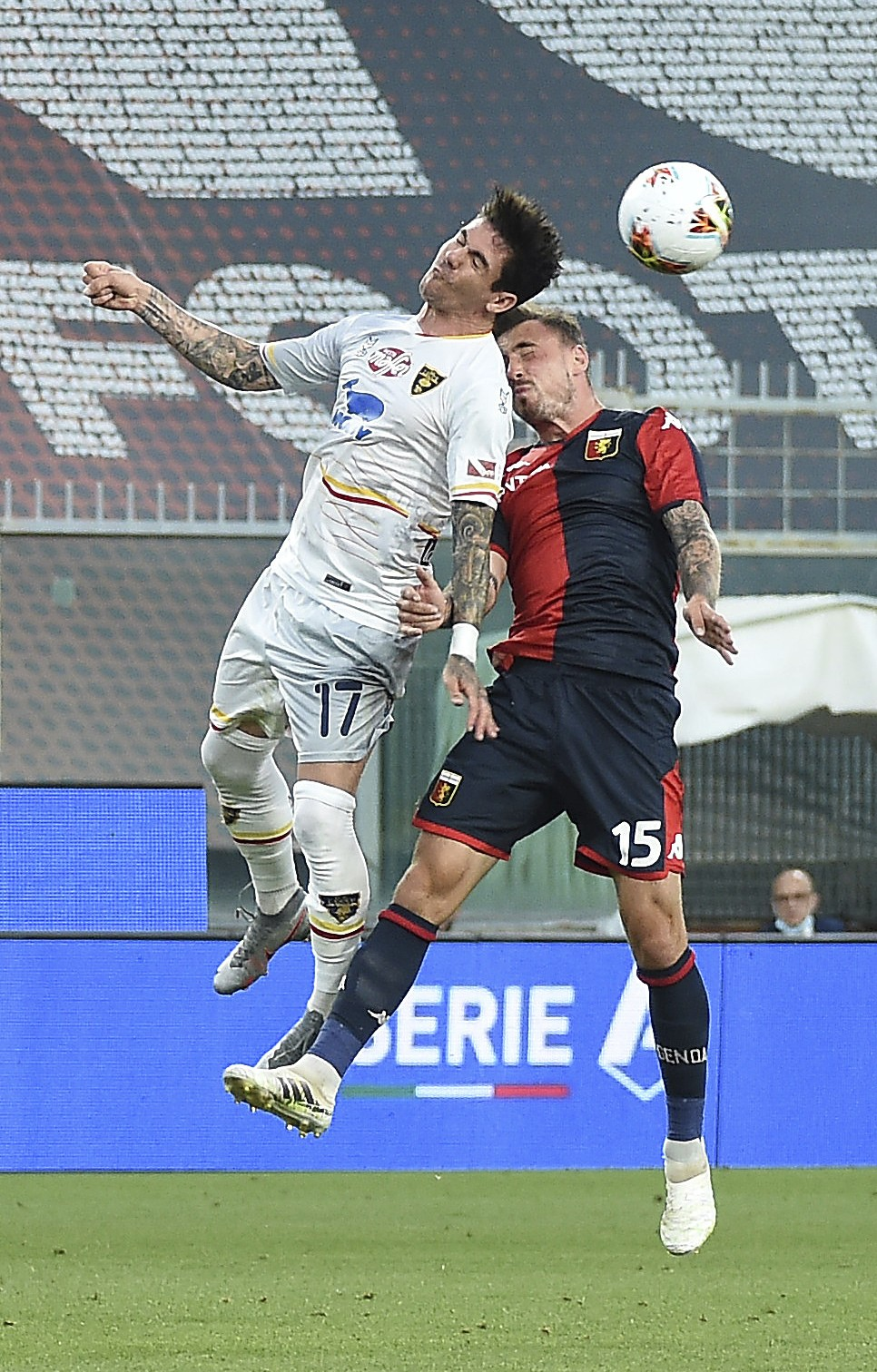 jagello filip of Lecce in action with Genoa's diego farias during the Serie A soccer match between Genoa and Lecce, at the Luigi Ferraris Stadium in G...