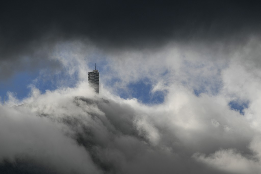 The Humboldt Hotel is surrounded by rolling clouds amid the new coronavirus pandemic, in Caracas, Venezuela, Sunday, July 19, 2020. (AP Photo/Matias D...