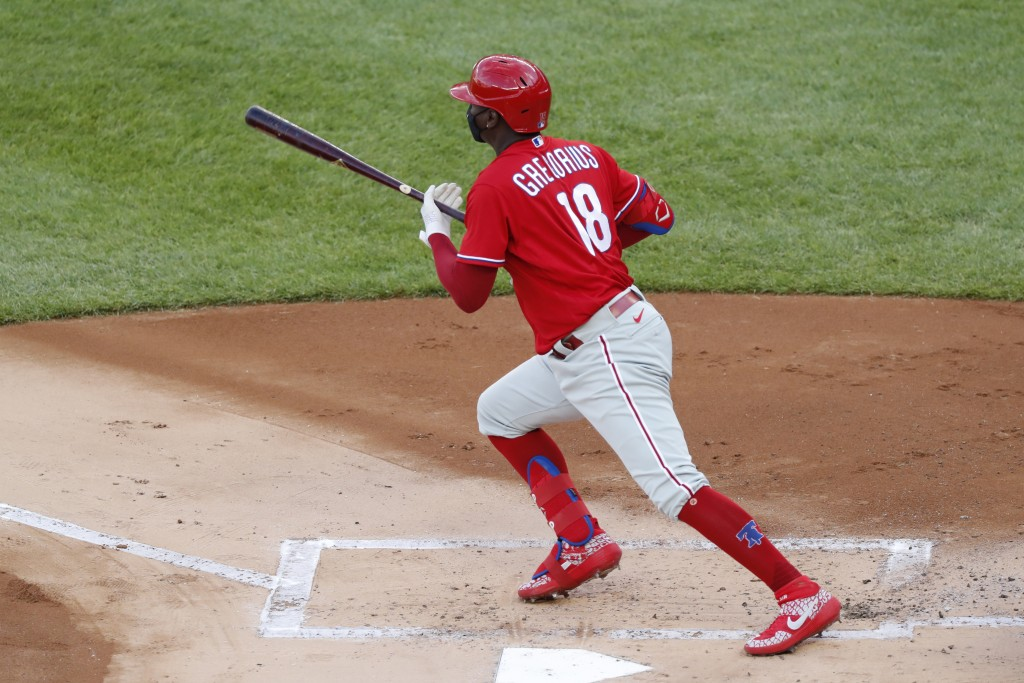Philadelphia Phillies Didi Gregorius runs on a double during the first inning an exhibition baseball game against the New York Yankees, Monday, July 2...