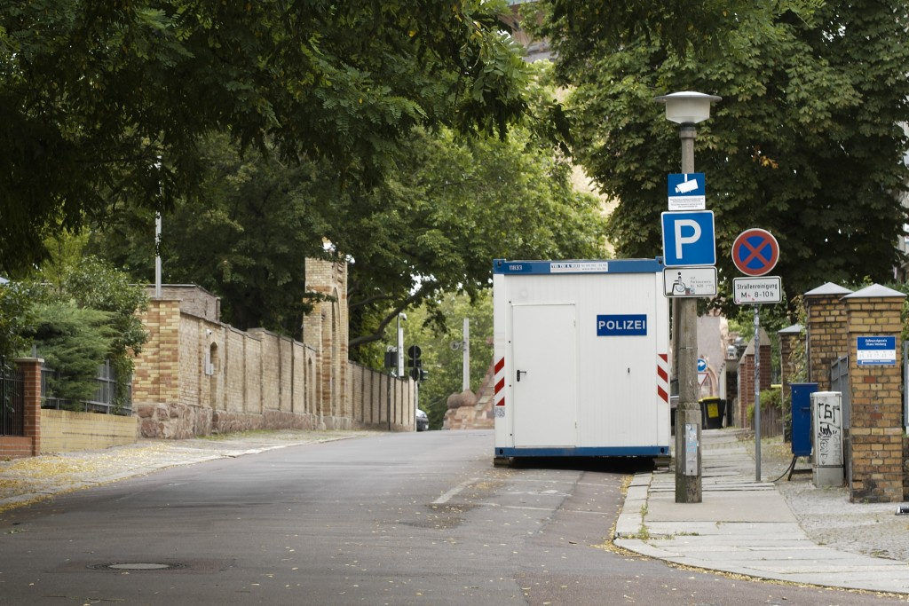 A structure used by police is seen in front of the synagogue in Halle, Germany, Monday, July 20, 2020. The trial of a heavily armed attacker who wante...